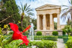 Monument to Sir Alexander Ball. In the Lower Barrakka Gardens, Valletta, Malta Stock Image
