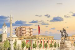Monument to Skanderbeg in Scanderbeg Square in the center of Tirana, Albania. On a sunny day stock photography
