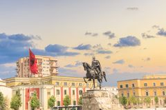 Monument to Skanderbeg in Scanderbeg Square in the center of Tirana, Albania. On a sunny day stock photos