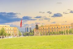 Monument to Skanderbeg in Scanderbeg Square in the center of Tirana, Albania. On a sunny day stock image