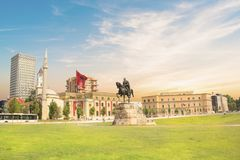 Monument to Skanderbeg in Scanderbeg Square in the center of Tirana, Albania. On a sunny day stock photo