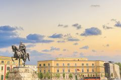 Monument to Skanderbeg in Scanderbeg Square in the center of Tirana, Albania. On a sunny day royalty free stock image
