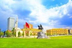 Monument to Skanderbeg in Scanderbeg Square in the center of Tirana, Albania Stock Image