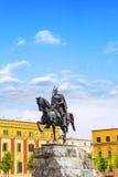 Monument to Skanderbeg in Scanderbeg Square in the center of Tirana, Albania Royalty Free Stock Photos