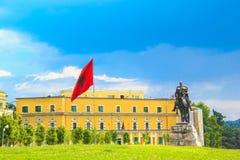 Monument to Skanderbeg in Scanderbeg Square in the center of Tirana, Albania Stock Photography