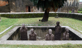 Monument to slaves in Zanzibar. Slavery was held in this island for many years Royalty Free Stock Photo
