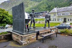 The monument to smelters in Odda, Norway. Odda, Norway - June 19, 2018: The monument `Smeltaren` by Oddmund Raudberget, dedicated to workers of local zinc stock image