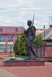 A monument to a soldier in Myshkin, Russia. A monument to a soldier in Myshkin, Russia, opened in 2011, on the occasion of 60th anniversary of the Victory Day Royalty Free Stock Images