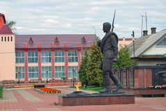 A monument to a soldier in Myshkin, Russia. A monument to a soldier in Myshkin, Russia, opened in 2011, on the occasion of 60th anniversary of the Victory Day Stock Photo