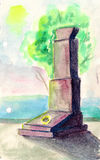 Monument to soldiers of war, watercolor illustration Stock Photos