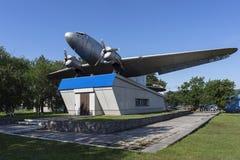 Monument to Soviet military transport aircraft Li-2 royalty free stock photo