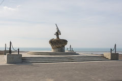 Monument to Soviet paratroopers - Lender gun with armored BKA 73 Azov flotilla Black Sea Fleet, who Stock Photos