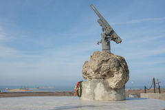 A monument to Soviet paratroopers in the Tuzla Spit - Lender gun with armored BKA 73 Azov flotilla. Taman, Russia - March 8, 2016: A monument to Soviet Royalty Free Stock Photography