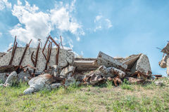 Monument to Soviet soldiers, destroyed after the hostilities of Royalty Free Stock Photo
