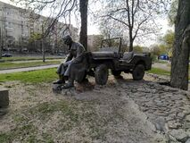 Monument to Soviet soldiers motorists in Kyiv