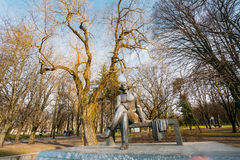 Monument to Soviet writer Alexei Maximovich Peshkov primarily known as Maxim Gorky. In Maksim Gorky Central Children`s Park in Minsk, Belarus Stock Images