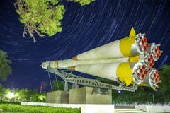 Monument to the Soyuz rocket. Startrails background. royalty free stock photos