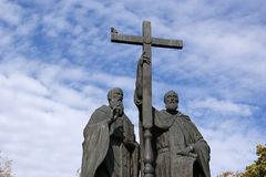 Monument to SS. Cyril and Methodius on Slavyanskay Royalty Free Stock Photos