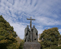 Monument to SS. Cyril and Methodius on Slavyanskay Stock Images