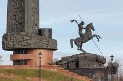 The Monument to St. George on Poklonnaya hill in Victory Park. MOSCOW, RUSSIA - April 24, 2017: The Monument to St. George on Poklonnaya hill in Victory Park Royalty Free Stock Photos