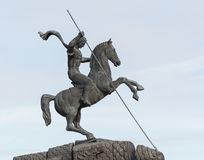 The Monument to St. George on Poklonnaya hill in Victory Park. MOSCOW, RUSSIA - April 24, 2017: The Monument to St. George on Poklonnaya hill in Victory Park Royalty Free Stock Photography