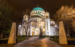 Monument to St. Sava in front of the chuch of the same name Stock Photos