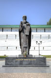 Monument to St. Sergius of Radonezh near the monastery walls of the Trinity-Sergius Lavra. Stock Photo