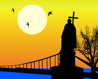 Monument to St. Vladimir. Silhouette of the monument to St. Vladimir the Baptizer of Rus in Kiev against an orange background Stock Images