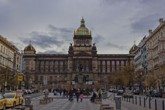 Monument to St. Wenceslas and the building of the National Museu Stock Images