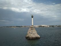 Monument to sunken ships in Sevastopol stock images