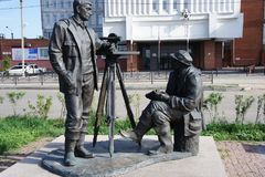 Sculptural composition devoted to the geological surveyors in the city of Irkutsk. Monument to the surveyors, the pioneers and researchers of the Baikal land in Stock Photo
