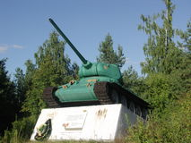 Monument to the tanks. Trakhtemyriv. T-34. Spring. Red Army Royalty Free Stock Images