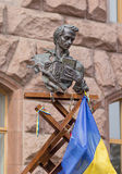 Monument to Taras Shevchenko and national symbols near City Hall Royalty Free Stock Images