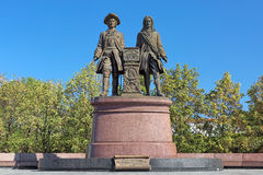 Monument to Tatishchev and de Gennin in Yekaterinburg, Russia Stock Photo
