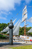 Monument to 1000th anniversary of Lithuania and sailboat Meridianas Stock Photos