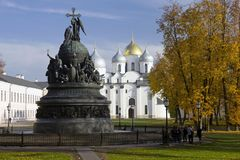Monument to the 1000th anniversary of Russia on the background of St. Sophia Cathedral in Novgorod in autumn. Russia. royalty free stock images