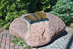 Monument to Thomas Mann. Svetlogorsk (until 1946 Rauschen), Kaliningrad oblast, Russia. Monument to Thomas Mann in the form of an open book. Svetlogorsk (until stock photo