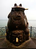 Monument to the toad. Seafront embankment of Berdyansk, Ukraine. Powerful talisman to attract wealth Stock Images