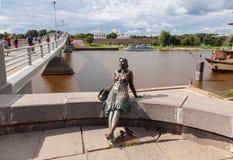 Monument to tourist girl in Veliky Novgorod Royalty Free Stock Photos