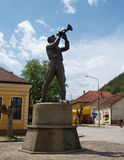 Monument to traditional trumpet player Royalty Free Stock Photography