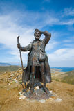 Monument to tramp. Lake Baikal shore, Irkutsk region, Siberia, Russia. August 11, 2015: monument to tramp, who escaped from the Trans-Baikal hard labor Stock Photos