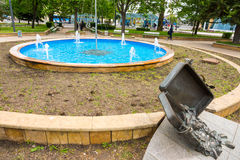 Monument to travelers on the forecourt of Bourgas, Bulgaria Stock Images