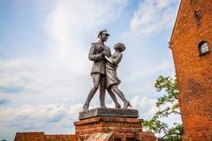 Monument to uhlan with girlfriend. Grudziadz. Poland Stock Photography
