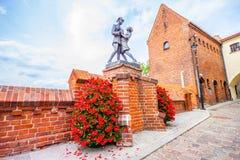 Monument to uhlan with girlfriend. Grudziadz. Poland Stock Images