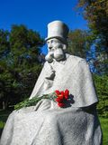 Monument to Ukranian fabulist Glibov in Sednev village Royalty Free Stock Photography