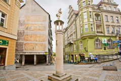 Monument to the vagabond traveler in the center of the old town Royalty Free Stock Image