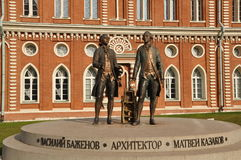 Monument to Vasily Bazhenov and Matvey Kazakov. Tsaritsyno. Royalty Free Stock Photo