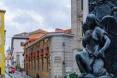 Monument to victims of the attack against Alfonso XIII, Madrid. MADRID, SPAIN - DECEMBER 31, 2017: The monument to victims of the attack against Alfonso XIII Stock Photo