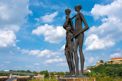 Monument to the victims of Novi Sad raid. NOVI SAD, SERBIA - MAY 15, 2017: The monument to the victims of the raid in Novi Sad, Serbia, in january of 1942 during Stock Image