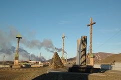Monument to the victims of repression in Norilsk Stock Photos